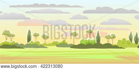 Rural Summer Beautiful Landscape. Sunrise. Plain With Trees And Shrubs On Horizon. Cartoon Style. Se