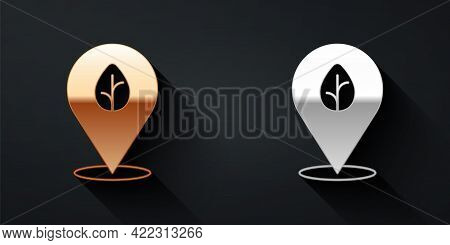 Gold And Silver Vegan Food Diet Icon Isolated Gold And Silver Background. Organic, Bio, Eco Symbol.