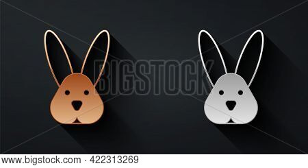 Gold And Silver Animal Cruelty Free With Rabbit Icon Isolated Gold And Silver Background. Long Shado