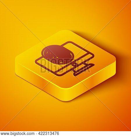 Isometric Line Monitor With Fingerprint Icon Isolated On Orange Background. Id App Icon. Identificat