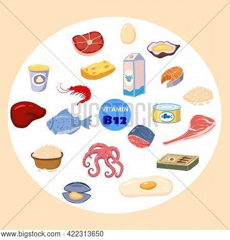 Set Of Vitamin B12 Origin Natural Sources. Healthy Diary Sea Food, Cottage Cheese, Meat, Fish. Organ
