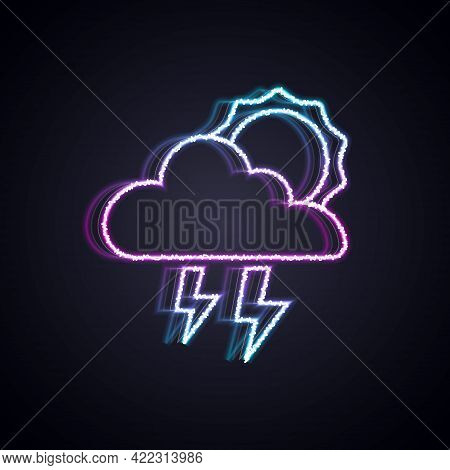 Glowing Neon Line Storm Icon Isolated On Black Background. Cloud With Lightning And Sun Sign. Weathe