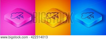 Isometric Line Storm Icon Isolated On Pink And Orange, Blue Background. Cloud And Lightning Sign. We
