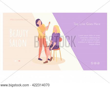 Woman Stylist Putting Makeup To Girl Web Page