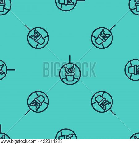 Black Line Plant In Hanging Pot Icon Isolated Seamless Pattern On Green Background. Decorative Macra