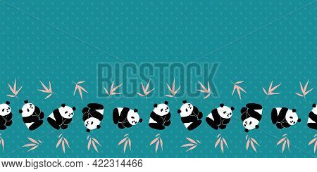 Panda Bamboo Frame Border Seamless Pattern. Vector Illustration. Great For Birthday, Party, Gift Wra