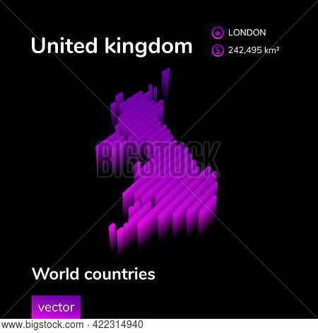Stylized Neon Digital Isometric Striped Vector Uk Map With 3d Effect. Map Of United Kingdom Is In Vi