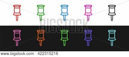 Set Line Push Pin Icon Isolated On Black And White Background. Thumbtacks Sign. Vector