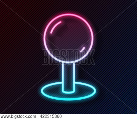 Glowing Neon Line Push Pin Icon Isolated On Black Background. Thumbtacks Sign. Vector