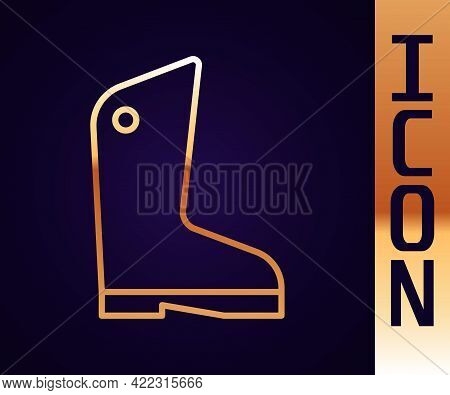 Gold Line Rubber Gloves Icon Isolated On Black Background. Latex Hand Protection Sign. Housework Cle