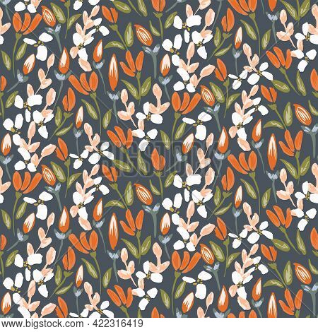 Bloom Away Sparkling Fire Floral Seamless Vector Pattern. Gorgeous Painted Flowers And Buds Blooming