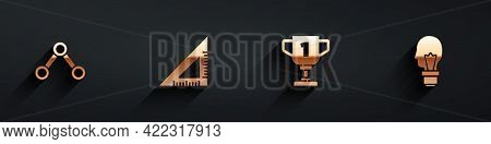 Set Molecule, Triangular Ruler, Award Cup And Light Bulb With Concept Of Idea Icon With Long Shadow.
