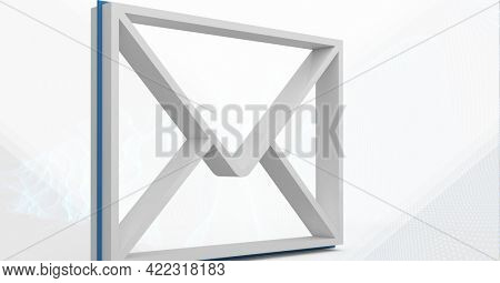 Composition of 3d white envelope email icon on white background. global communication and networking technology concept digitally generated image.