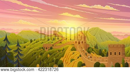 Great Wall Of China Vector Illustration. Chinese Famous Landmark With Watchtowers. Great Wall Under