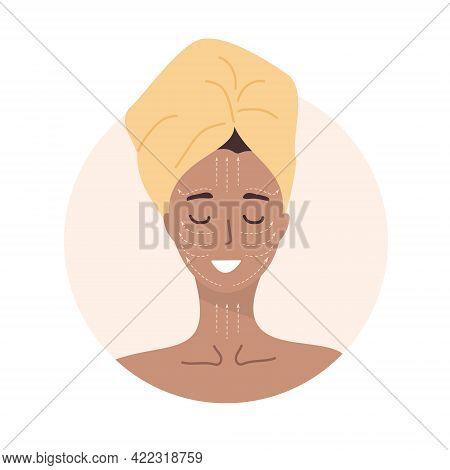 Facial Massage. Woman Portrait With Lymphatic Massage Scheme. Morning Routine. Skin Care Concept. Ve