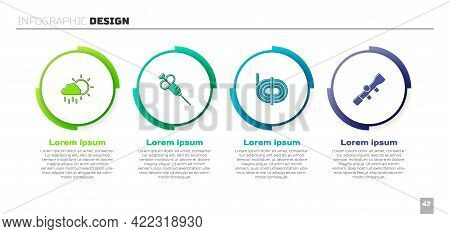 Set Cloud With Rain, Syringe, Climber Rope And Sniper Optical Sight. Business Infographic Template.