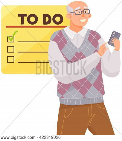 Elderly Man Using Checklist On Smartphone. Online Survey Concept. Male Character Holding Mobile Phon