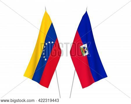 National Fabric Flags Of Republic Of Haiti And Venezuela Isolated On White Background. 3d Rendering