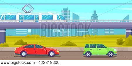 Elevated Road Junction And Interchange Overpass. City Landscape With Electric Train On Highways. Roa