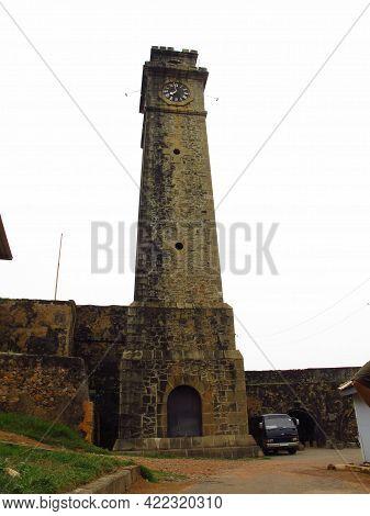 Galle, Sri Lanka - 10 Jan 2011: Galle Fort Clock Tower, Sri Lanka