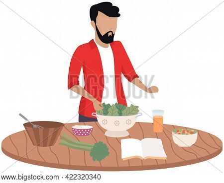 Male Character Preparing Vegetarian Dish Using Recipe From Cookbook. Proper Nutrition And Healthy Li