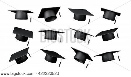 Close Up Collection Set Of Bachelor Cap, High School, University, And Graduation Celebrate Mock Up,
