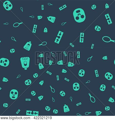 Set Acne, Facial Cosmetic Mask, Epilator And Hand Mirror On Seamless Pattern. Vector