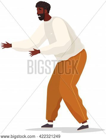 Man With Scared Expression And His Hands In Defenses Position. Scared African American Guy Vector Il