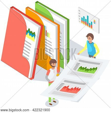 Visualize With Graph And Chart Growth. Men Fold Sheets Of Paper Into Document Folders With Statistic