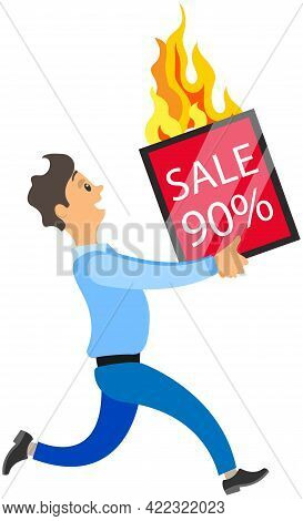 Hurrying Running Male Character Isolated On White Background. Loan Agreement And Sale Rush. Late On