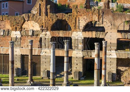 Forum Of Caesar (foro Di Cesare), Part Of Forum Romanum, View Of The Ruins Of Several Important Anci