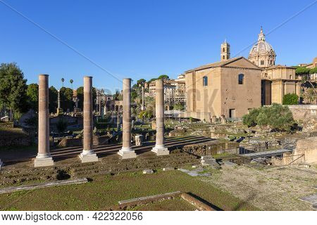 Forum Romanum, View Of The Ruins Of Several Important Ancient  Buildings,temple Of Venus And Roma Co