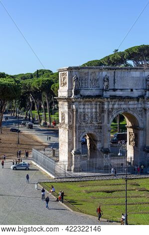 Rome, Italy - October 8, 2020: 4th Century Arch Of Constantine, (arco Di Costantino) Next To Colosse