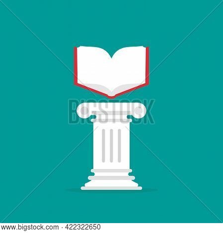 Greek Column With Open Book. Antique Pillar. Library, University Or Bookstore Concept. Education, Kn
