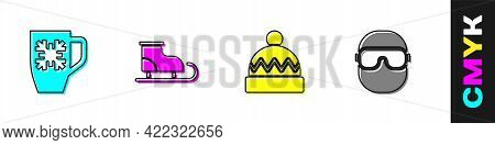Set Coffee Cup With Snowflake, Figure Skates, Winter Hat And Ski Goggles Icon. Vector