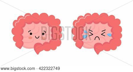 Happy And Sad Kawaii Characters Of Intestine. Healthy Smily And Unhealthy Cry Gut Characters. Abstra