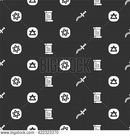 Set Dagger, Air Element, Tarot Cards And Decree, Parchment, Scroll On Seamless Pattern. Vector
