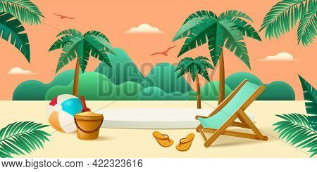 Summer Holiday Beach Vacation Theme Podium With Summer Set Beach Elements.