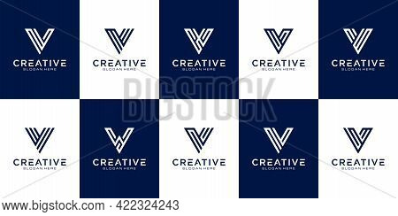 Set Of Initial Letter V Logo Design Template. Icons For Business Of Luxury, Elegant, Simple