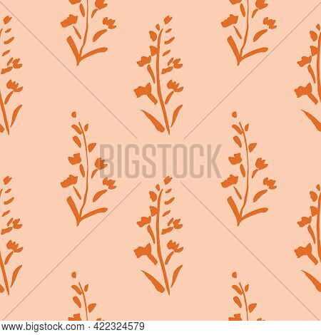 Pressed Love Floral Seamless Vector Pattern. Long Floral Stem Silhouettes In Solid Orange Dancing Ov