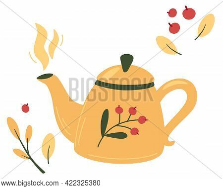 Teapot With Tea And Berries. Tea Time Mug Teapot And Herbs, Fruits, Ingredients For Drinks. Autumn M