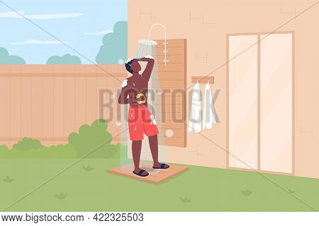 Taking Shower In Backyard Flat Color Vector Illustration. Keeping Cool In Summer. Outdoor Shower. Su