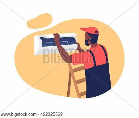 Installing Air Conditioner In Apartment 2d Vector Isolated Illustration. Providing Comfortable Tempe