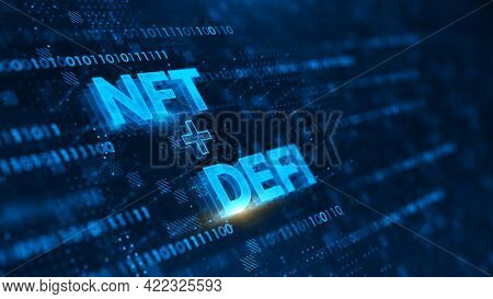 NFT nonfungible tokens and DeFi - Decentralized Finance concept on dark blue background. Concept of blockchain, decentralized financial system. 3d rendering