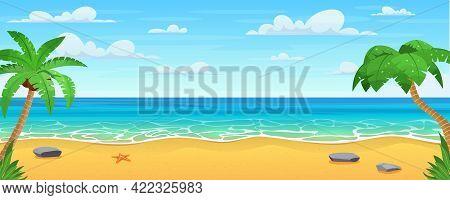 Cartoon Summer Beach. Paradise Nature Vacation, Ocean Or Sea Seashore. Sea Beach Landscape. Ocean Vi