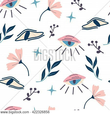 Seamless Pattern With Magic Eyes And Flowers. Evil Eyes Background. Magic, Witchcraft, Occult Symbol