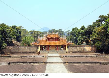 Ancient wall with gate in Imperial Minh Mang Tomb of the Nguygen dynasty in Hue, Vietnam. UNESCO world heritage site