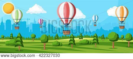Hot Air Balloon In The Sky With Clouds And Sun. Vintage Air Transport. Nature Outdoor Background. Ae
