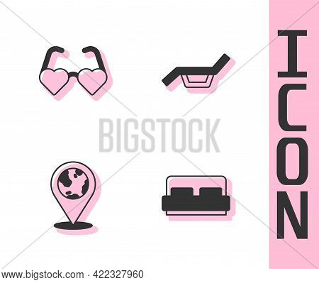 Set Hotel Room Bed, Heart Shaped Love Glasses, Location On The Globe And Sunbed And Umbrella Icon. V