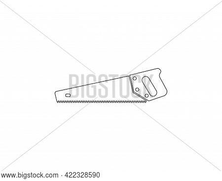 Hand Saw, Wood Saw Icon. Vector Illustration. Flat Design.